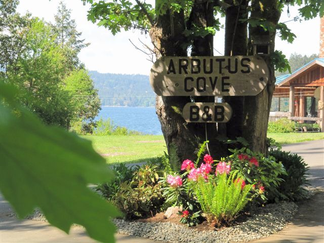 entrance to Arbutus Cove Bed and Breakfast from the Galloping Goose Trail